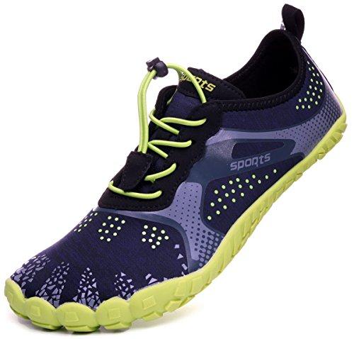 WHITIN Men's Minimalist Barefoot Zero Drop Swim 5 Five Fingers Toe Shoes for Jogging Workout Trail Running Hiking Fitness Water Sports Aqua Socks Quick-Dry Beach Walking Glove Green Size 8.5