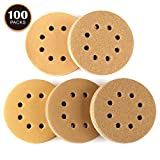 Sander Paper, Anti-Clogging and Loading - Tacklife 100 PCS 8 Holes Sanding Discs, 5 Inch Hook and Loop, 60/80 / 120/150 / 220 Grit Sandpaper Assortment for Random Orbital Sander - ASD04C