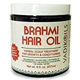 Brahmi Hair Oil (8 oz) by Vadik Herbs | All natural herbal hair oil for hair growth, hair conditioning, dandruff and dry scalp | Herbal scalp treatment