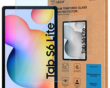 Tukzer Tempered Glass Screen Protector for Galaxy Tab S6 LITE (2020) SM-P610; SM-P615 (LTE), Anti-Scratch, Bubble-Free, Premium 9H Hardness Compatible with S-Pen