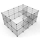 Tespo Pet Playpen, Small Animal Cage Indoor Portable Metal Wire Yard Fence for Small Animals, Guinea Pigs, Rabbits Kennel Crate Fence Tent (Black,36 Panels Upgrade)