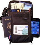 RFID Travel Wallet - Largest Neck Pouch - Fits Any Size Cell Phone- Cruise - Keep Valuables Safe