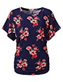 URBANCLEO Womens Boat Neck Red Floral Dolman Top Shirts Navy, M