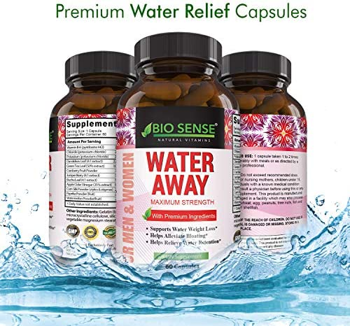 Natural Diuretic Water Away Pills Vitamin B6 Potassium & Dandelion Root Extract Water Retention Anti-Bloating and Swelling Capsules Weight Loss for Women & Men with Antioxidant Green Tea by Bio Sense 10