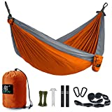 Camping Hammock, LAX Portable Double Durable Hammock for Backpacking, Travel, Hiking, Beach, Yard, Multi-Functional Lightweight Nylon Parachute Hammocks with Heavy Duty Straps (Orange/Gray)