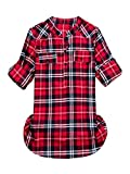 Women's Mid-Long Style Roll-up Sleeve Thin Plaid Shirt Classic Red 2 Tag US XL