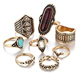 ZEALMER Retro Rings Arrow Hollow Carved Flowers Turquoise Knuckle Joint Knuckle Rings Set