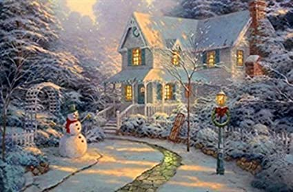 Large Festive Snowman Winter Christmas Snow Scene Light Up Led Canvas Picture Amazon Co Uk Kitchen Home