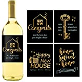 8 Rustic House Warming Presents, New Homeowner Stickers or Wine Label Gift Set Ideas, Real Estate Gifts from Agent for Client Congratulations