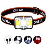 OMERIL Rechargeable Headlamp, 2.5H Quick Charge LED Hiking Headlamp Flashlight with 200 Lumen, 5 Modes, White Red Light, IPX5 Waterproof Camping Headlamp for Running, Cycling, Fishing, Kids and Adults