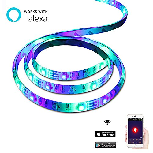 LEIMI-Wifi-Smart-Led-Strip-Lights-Wifi-SmartPhone-Controlled-RGB-Under-cabinet-LightsChristmas-Lights-StripNo-Hub-Require66-Ft60-LedsSMD5050Waterproof-IP65Adhesive-BackCompatible-with-Alexa