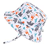 JAN & JUL Fun Toddler Boys Girls Adjustable Cotton Sun Hats 50 UPF, Stay-on Tie (M: 6-24m, Bucket Hat: Woodland)