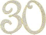 Sparkly Rhinestones Number 30 Cake Topper, Birthday Wedding Anniversary Gold Number 30
