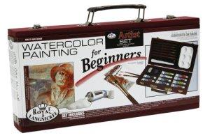 Beginner Watercolor Painting Wood Box Set