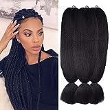 "Wome Hair Kanekalon Synthetic Jumbo Braiding Hair 3Pcs/Lot 24inch High Temperature Fiber Crochet Braids Hair Extensions(Natural Black 1b#,24"",100g/Pcs)"