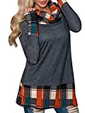 Product review for Brilanter Womens Turtleneck Cowl Neck Tops Plaid Patchwork Shirts Oversized Tunic Long Sleeve Pullover
