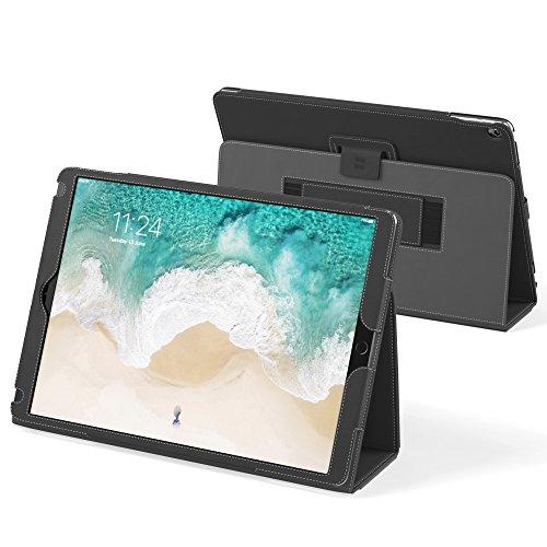 Snugg iPad Air (2019) & iPad Pro 10.5' Leather Case, Flip Stand Cover - Blackest Black