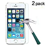 TANTEK Ultra Clear 9H Tempered Glass Screen Protector for iPhone 5/5C/5S/SE - 2 Pack