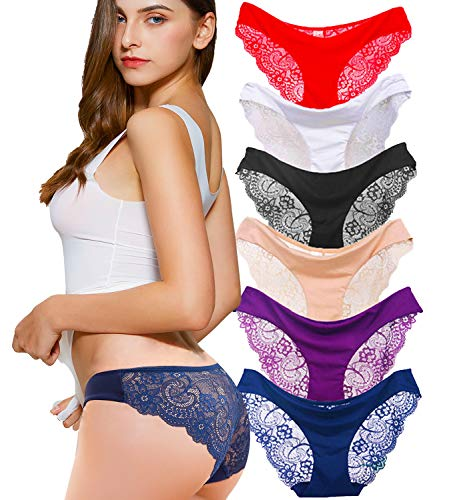 Kingfung 6 Pack Women's Invisible Seamless Bikini Underwear Half Back Coverage Panties (6Pack-C M)