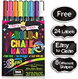 Chalk Markers Fine Tip - Bold Color Dry Erase Marker Pens - Liquid Chalk Markers for Chalkboards, Signs, Windows, Blackboard, Glass - 1mm Tip (8 Pack) - 24 Chalkboard Labels Included