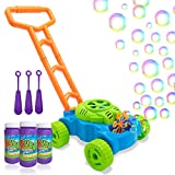 Lydaz Bubble Mower, Electronic Walker Bubble Blower Machine Lawn Games Outdoor Push Toys for Kids Toddlers