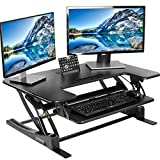 VIVO Black Height Adjustable 36' Stand up Desk Converter | Quick Sit to Stand Tabletop Dual Monitor Riser (DESK-V000V)