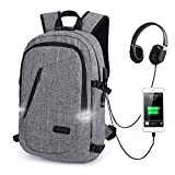 Laptop Backpack,Anti Theft Travel Computer Bag College School Bookbag with USB Charger Port & Headphone Interface Fit 15.6 Inch Laptop Notebook, Business Water Resistent Daypack for Men & Women,Grey