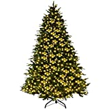 Goplus 7Ft Pre-Lit Artificial Christmas Tree Premium Spruce Hinged Tree w/ 460 LED Lights & Pine Cones