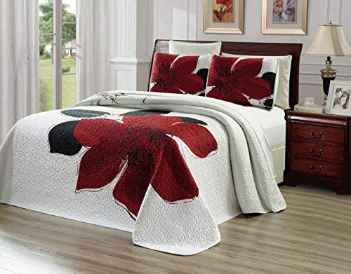 3-Piece Fine printed Oversize (100' X 95') Quilt Set Reversible Bedspread Coverlet FULL / QUEEN SIZE Bed Cover (Burgundy Red, Black, White, Floral)