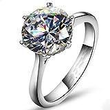 A.Minnymin Classic Women Solitaire Round cut 4Ct Diamonique Cz 925 Silver Wedding Band Ring (8)