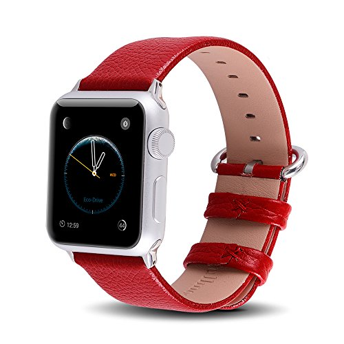 Apple Watch Bands 38mm, Fullmosa Yan Series Lichi Calf Leather Strap Replacement Band with Stain...