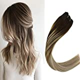VeSunny 16' Balayage Weft Sew in Hair Extensions Real Human Hair Color #4 Dark Brown Fading to #14 Mix #60 Platinum Blonde Double Weft Remy Human Hair Bundles Grade 7A 100G