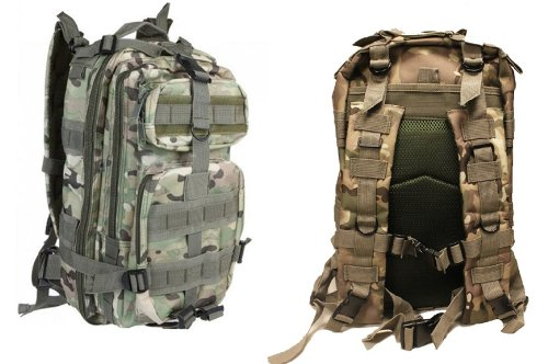 Ultimate Arms Gear Tactical Taccam Camo Camouflage Compact Level 3 Full Featured Assault Pack Backpack 3 Day Bug Out Bag Combat Multi-Functional Equipment Survival Assault Transport with Adjustable Slip Shoulder Length Straps MOLLE Modular PALS Shooting Range Military Army Patrol Paintball Hunting Camping Travel Vacation Heavy Duty Pack