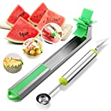 Godmorn Watermelon Windmill Slicer Cutter Corer Knife Stainless Steel, 2in1 Melon Fruit Baller Scoop Carver Cuber, 2-Packs Kitchen Gadgets Tools
