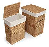 Wicker Two Laundry Hamper Set with Lids and Fabric Liners
