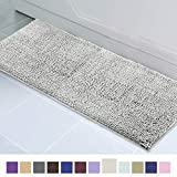 ITSOFT Non-Slip Shaggy Chenille Soft Microfibers Bathroom Rug with Water Absorbent, Machine Washable, 21 x 59 inch Light Gray