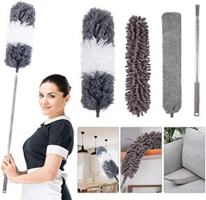 4PCS Microfiber Duster, with Extension Pole(Stainless Steel) 30 to 100 Inches, Reusable Bendable Dusters, Washable Lightweight Dusters for Cleaning Ceiling Fan, High Ceiling, Blinds, Furniture, Cars