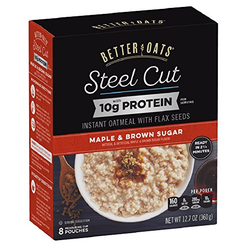 Better Oats Steel Cut Maple & Brown Sugar High Protein Instant Oatmeal with Flax Seeds, 12.7 Ounce (Pack of 6) 3