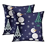 Emvency Set of 2 Decorative Throw Pillow Case Cushion Cover Cute Christmas Trees Snowflakes Snowman Drawing Winter Berries for Holidays 20x20 Inch Cases Square Pillowcases Covers Two Sides Print