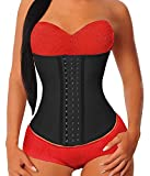 YIANNA Women's Underbust Latex Sport Girdle Waist Trainer Corsets Cincher Hourglass Body Shaper Weight Loss (Black, M)