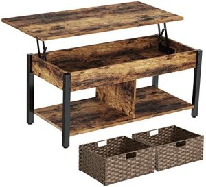 Rolanstar Coffee Table, Lift Top Coffee Table with Storage Shelves and Hidden Compartment, Retro Central Table with Wooden Lift Tabletop and Metal Frame, for Living Room, Rustic Brown