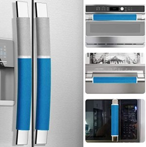 MRKG Refrigerator Door Handle Covers, Set of 5, Washable Without Fading, Keep Your Kitchen Appliance Clean from Smudges, Drips, Food Stains, Oil, 15.6X 5.6 inches, 6×3.5 inches (Blue, Grey)