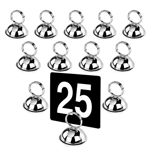 New Star Foodservice 23367 Split-Ring Style Place Card / Table Number Holder, 2.5 x 2.33 Inch, Silver, Set of 12