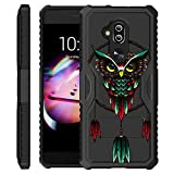 Untouchble Case for Alcatel 7 from MetroPCS, Alcatel 7 Folio Case [Combat PRO] Multi Layered Case Durable Hybrid Skin Bumper Shell with Kickstand - Dreamcatcher Owl