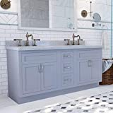 """Inset Shaker Vanity Cabinet (60"""" Wide Doubel Sink With 3 Drawers, Light Gray)"""