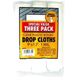 Premier 9' x 12' 1 MIL Clear Plastic Drop Cloth Rolled, 3 Pack, 69730