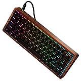 MAIDERN 60% Compact Hot-plugging Mechanical Keyboard 64keys dye sub keycaps Wooden Case Custom Light RGB Cherry Profile keycap (Cherry MX Blue Switches)