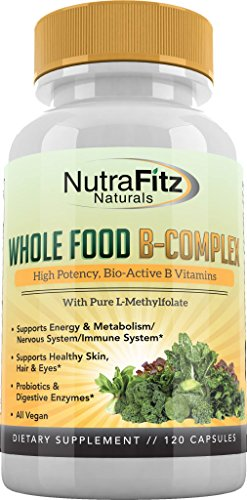NutraFitz Naturals B Complex Vitamins – B Vitamins Whole Food Supplement, B12 Methylcobalamin, B1, B2, B3, B5, B6, B7, B9 – For Stress, Energy and Immune Support, Vegan, 120 Capsules