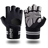 SIMARI Workout Gloves for Women Men,Training Gloves with Wrist Support for Fitness Exercise Weight Lifting Gym Crossfit,Made of Microfiber and Lycra SMRG902(Black L)