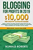 Blogging for Profits in 2019: 10,000/month ultimate guide - Make a Passive Income Fortune using Effective Seo Techniques & Affiliate Marketing Secrets ... YouTube & Social Media (Make Money Online)